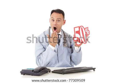Middle aged successful caucasian man doctor holding up a health care sale sign, 50 %. Studio shot. White background - stock photo