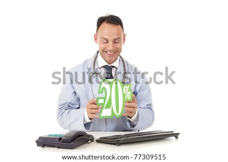 Middle aged successful caucasian man doctor holding up a health care sale sign, 20 % ,  Studio shot. White background - stock photo