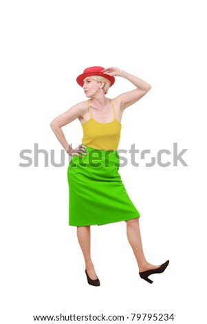 Middle aged woman dressed in traffic light colors - stock photo