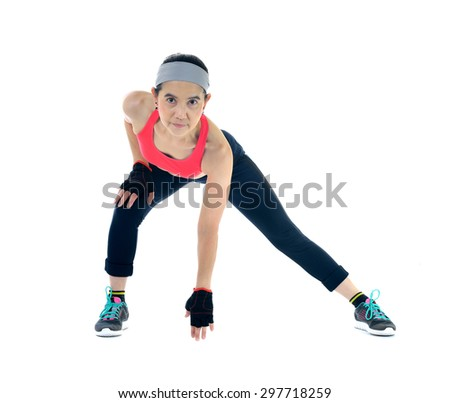 Middle aged woman exercising isolated on white background