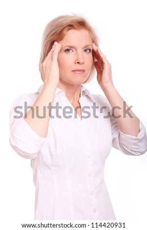 Middle aged woman having head pain over white background
