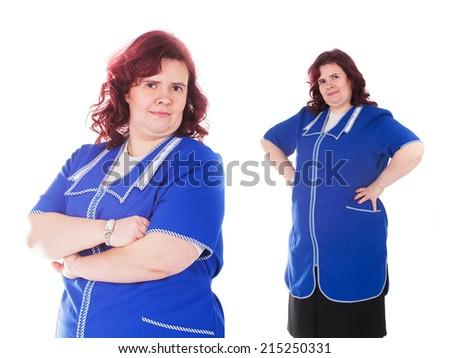 middle-aged woman in a blue overall - stock photo