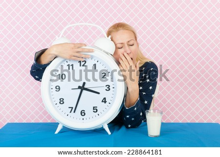 Middle aged woman in the night with insomnia - stock photo