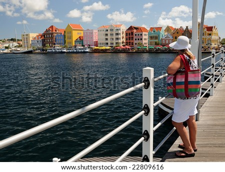 Middle-aged woman on a bridge overlooking a colorful downtown - stock photo