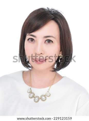 middle aged woman portrait - stock photo