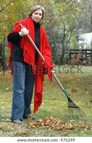 middle aged woman raking the leaves. - stock photo