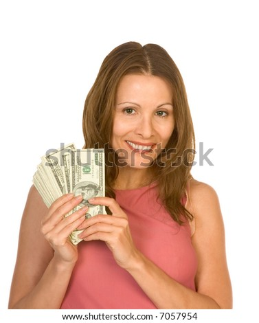 Middle aged woman showing pile of 100 dollar bills