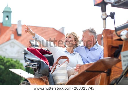 Middle-aged woman showing something to man while sitting in horse cart - stock photo