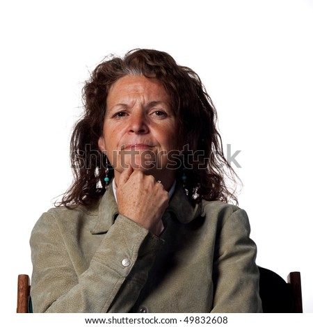 Middle aged woman thinking - stock photo
