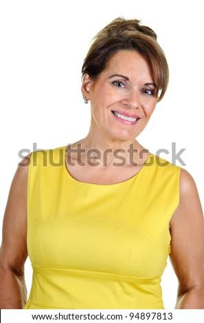 Middle Aged Woman Wearing Yellow Dress - stock photo
