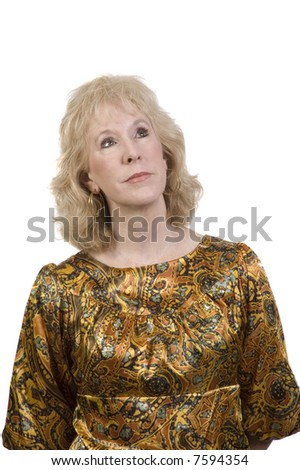 middle-aged Woman with a thyroid scar on her neck looking up isolated over white - stock photo