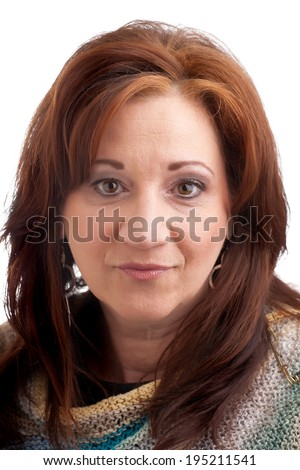Middle aged woman with red bronze hair.