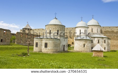 middle ages fortress in town Ivangorod near Saint Petersburg in Russia.  - stock photo