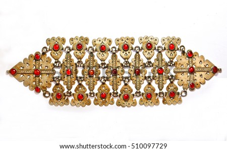 Middle-Asian traditional vintage jewelry belt Silver, gilding, semi-precious stones, east ornament. Isolated on white.
