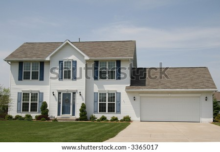 Middle class two-story home closer look - stock photo