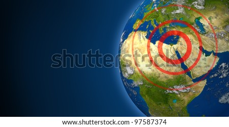 Middle East and North Africa uprisings and political crisis in the persian gulf with crude oil issues with countries as Iran Israel Egypt Libya Syria Yemen Elements of this image furnished by NASA. - stock photo