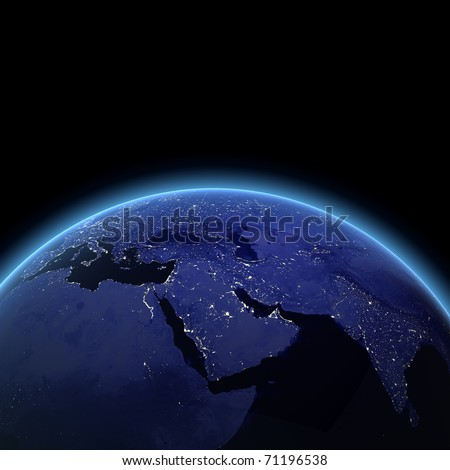 Middle East at night. Maps from NASA imagery - stock photo