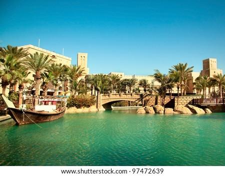 Middle east cityscape, Dubai, UAE - stock photo