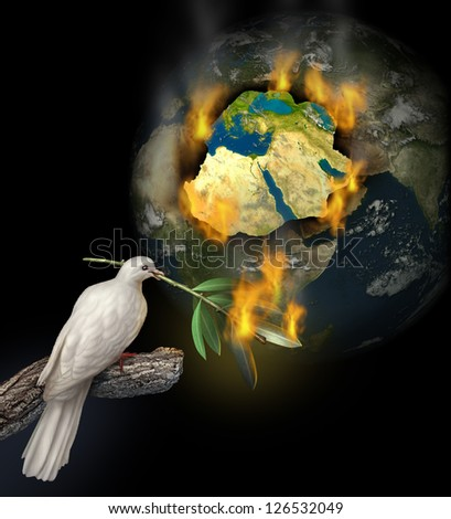 Middle East conflict as a burning map of Egypt Syria Iran Israel Saudi Arabia Libya Yemen Iraq with a white dove holding a burning olive branch for the tragedy of war and political problems. - stock photo