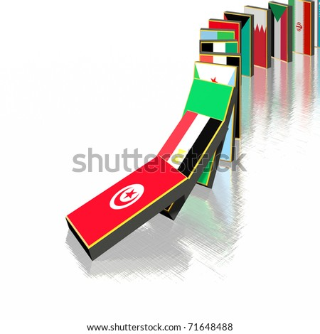 Middle East domino effect (Tunisia, Egypt, Algeria, Bahrain...) - stock photo