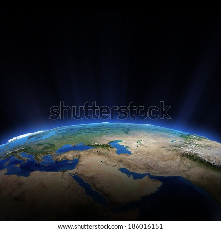 Middle East. Elements of this image furnished by NASA - stock photo