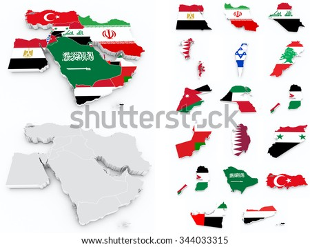 middle east flags compilation - stock photo