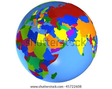 Middle East globe map - stock photo