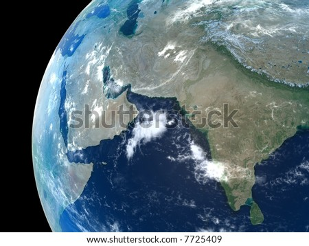 Middle East, India and parts of central Asia as seen from space with cloud formations - stock photo