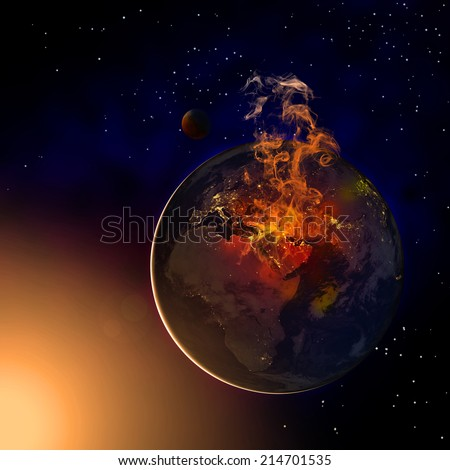 Middle east is burning in the picture because of wars and chaos. Elements of this image furnished by NASA. Clip art and illustration.
