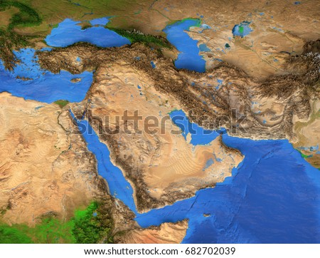 Middle East Map Gulf Region Detailed Satellite View Of The Earth And Its Landforms