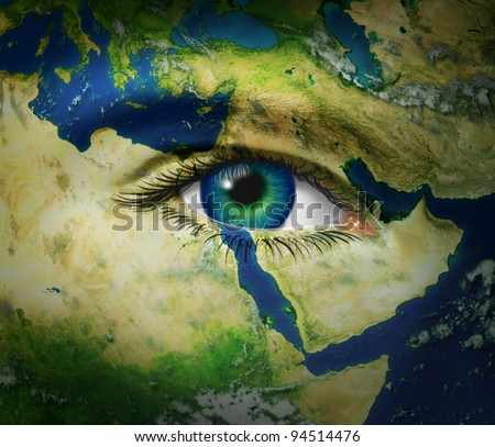 Middle East news reporting events from arab hot spots of turmoil and revolution with map and human eye during the events of Syria Egypt Tunisia Iran and Libya as democratic history is reported. - stock photo