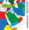 Middle-east political map - stock photo
