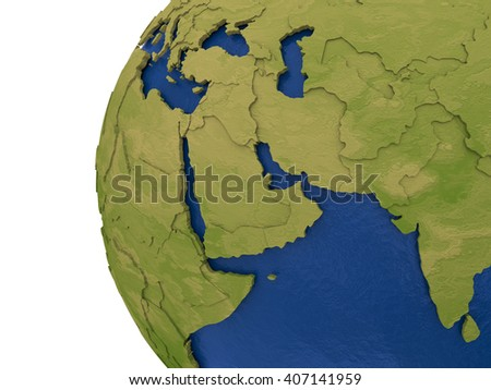 Middle East region on detailed model of planet Earth with visible country borders on green land and waves on the ocean waters. 3D Illustration.