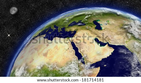 Middle East region on planet Earth from space with Moon and stars in the background. Elements of this image furnished by NASA. - stock photo