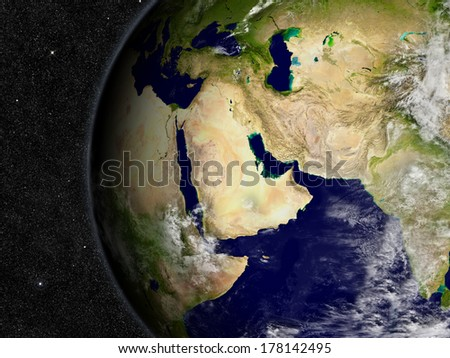 Middle East region on planet Earth from space with stars in the background. Elements of this image furnished by NASA. - stock photo