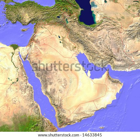 Middle East satellite map with borderlines - stock photo