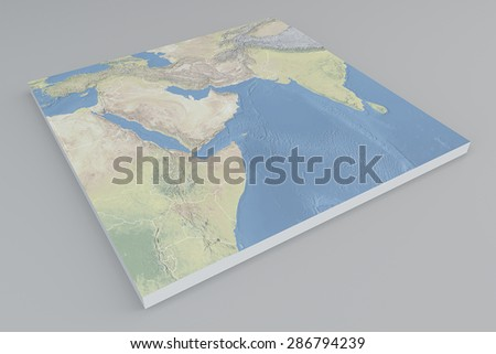 Middle East satellite view, split, 3d, map. Element of this image are furnished by Nasa - stock photo