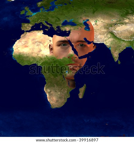 Middle East Superimposed on Mans Face - stock photo