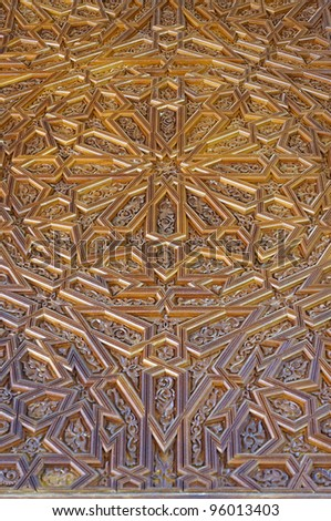 middle east traditional craving art on wooden door - stock photo