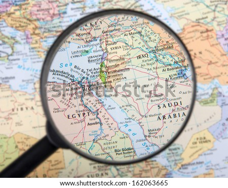 Middle East under magnifier - stock photo