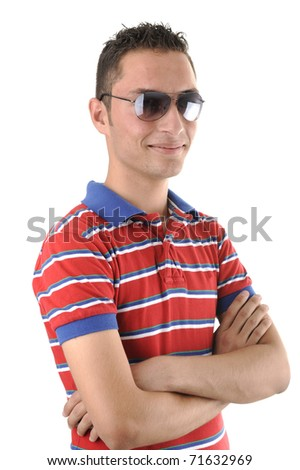 Middle east young man with glasses, isolated - stock photo