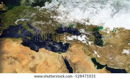 Middle Eastern Europe - Satellite Space Map Composition (Elements of this image furnished by NASA)
