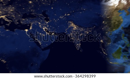 Middle Eastern World - Planet Earth Night/Day Map Composition (Elements of this image furnished by NASA) - stock photo