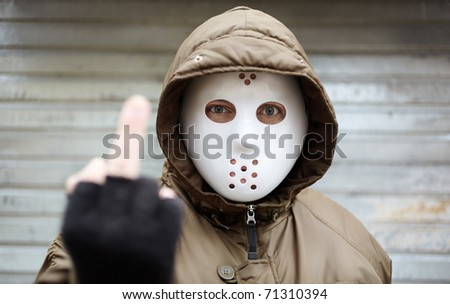 middle finger 	 - stock photo