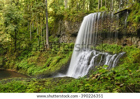 Middle North Falls, Silver Falls State Park, Oregon - stock photo