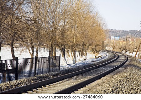 Middle of an old railway - stock photo