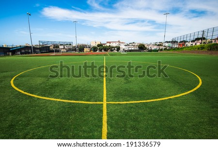 middle of soccer field - stock photo