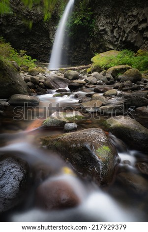 Middle Oneonta Falls along the beautiful Columbia River Gorge hiking trails  - stock photo