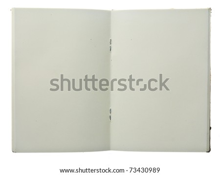 Middle page of notebook isolated on white background - stock photo