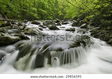 Middle Prong Little River, in Great Smoky Mountains National Park, border of North Carolina and Tennessee - stock photo